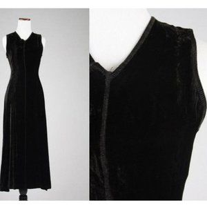 Vtg 90s Gap Velvet Stretch Maxi Sleeveless Dress
